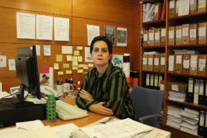 Avia Veira, actual portavoz municipal do BNG na Coruña no seu despacho