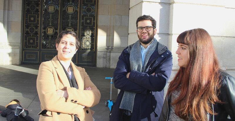 Avia Veira, David Soto e Patricia Cordo, candidatos do Bloque Nacionalista Galego da Coruña